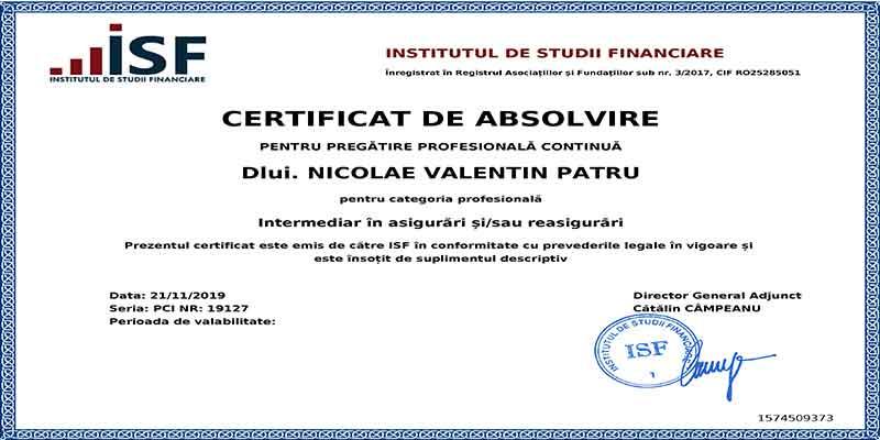 PATRU NICOLAE VALENTIN, broker in asigurari, RAF415738, Autoritatea de Supraveghere Financiara, Transilvania Broker de Asigurare