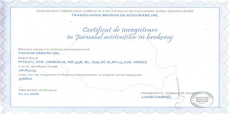 SC FIDUCIA VARONI SRL, Pitesti, Arges, Asistent in Brokeraj, RAJ356800, TRANSILVANIA BROKER de ASIGURARE, TBK